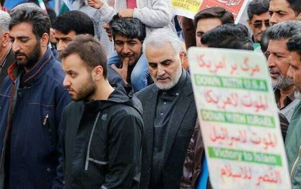 آخرین حضور سردار سلیمانی در راهپیمایی ۲۲ بهمن