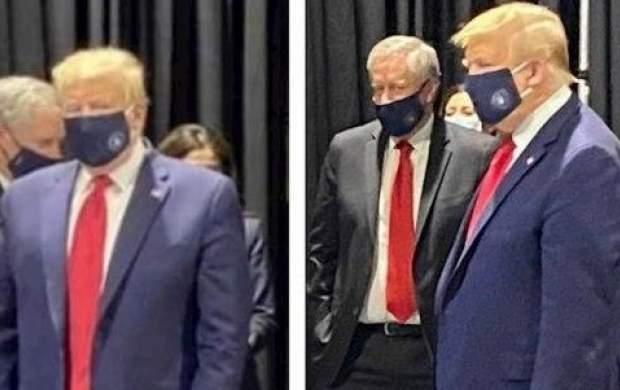 ترامپ بالاخره مجبور شد ماسک بزند! +عکس