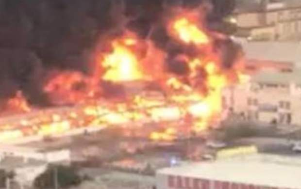 آتش سوزی مهیب در بازار شهر عجمان امارات
