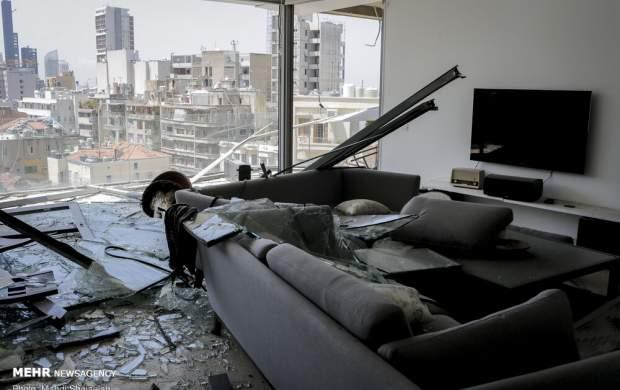 فیلم/ لحظه انفجار مهیب بیروت در یک هتل