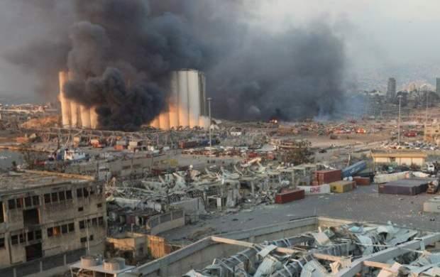 وقوع آتشسوزی گسترده در بندر بیروت