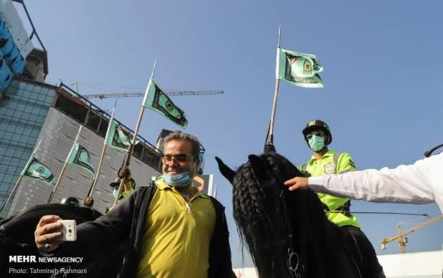 «اسب سواران ناجا» در خیابان ولیعصر