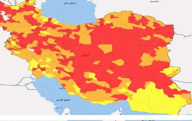 فهرست شهرستان های قرمز، نارنجی و زرد کرونایی اعلام شد