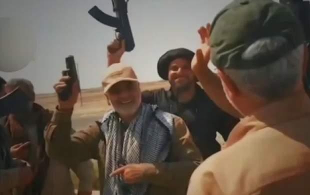 پایکوبی حاج قاسم و ابومهدی بعد از آزادی آمرلی