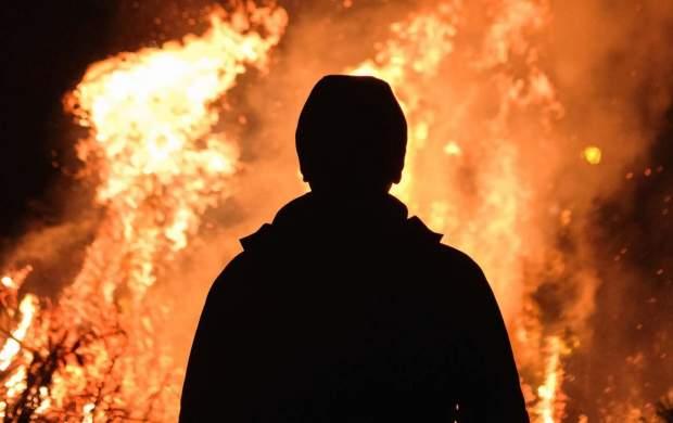 آتش گرفتن یک مرد در پمب بنزین