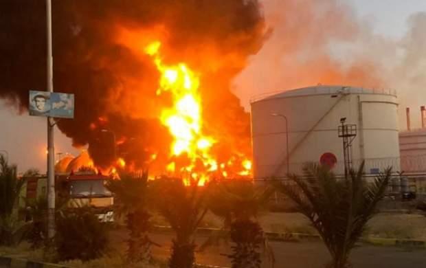 آخرین وضعیت آتش سوزی در پالایشگاه تهران +فیلم