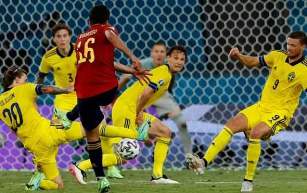بدشانسی اسپانیا در شب خوش شانسی سوئد